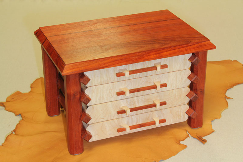 Jewelry Box - Pagoda - Padauk - 4 Drawer