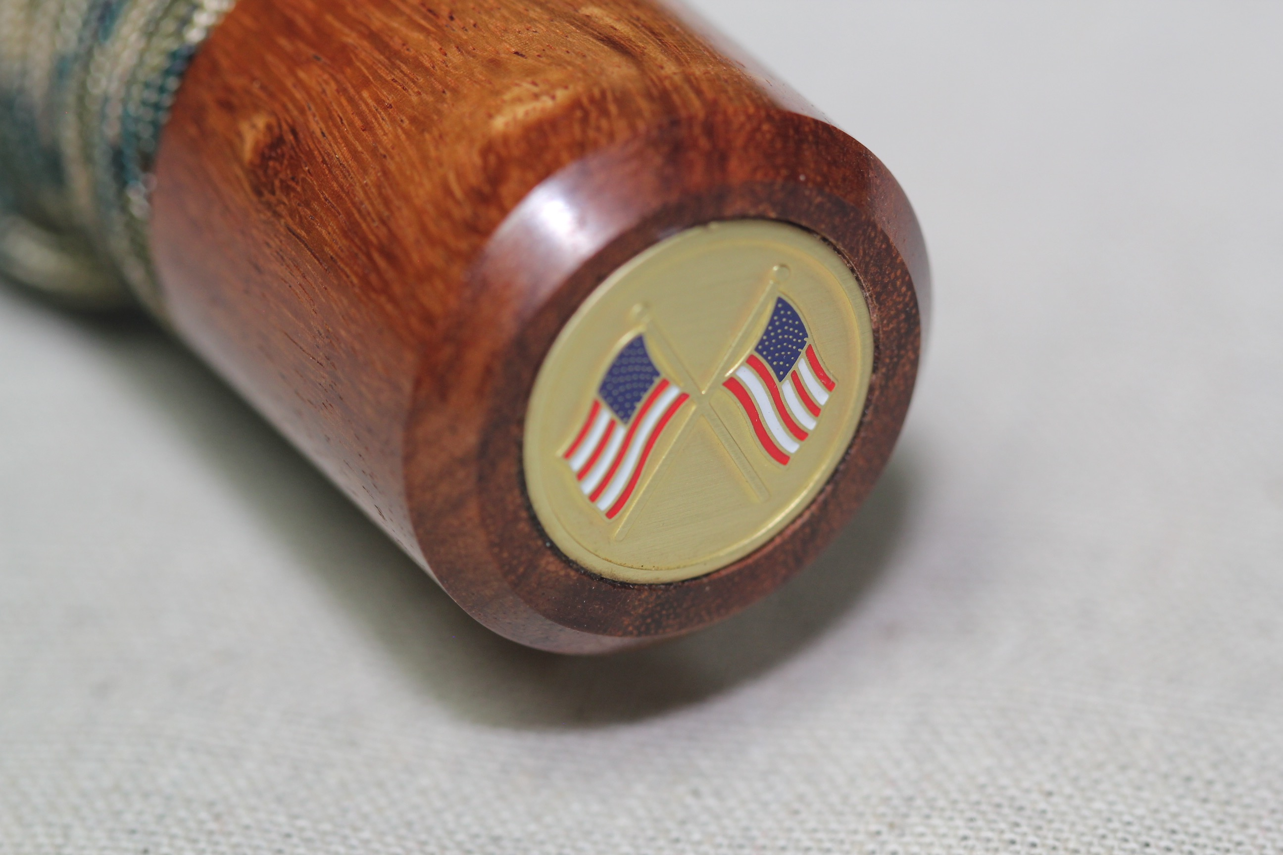 Granadillo - Spiral - Camo Cord - US Flags - Wood Baton